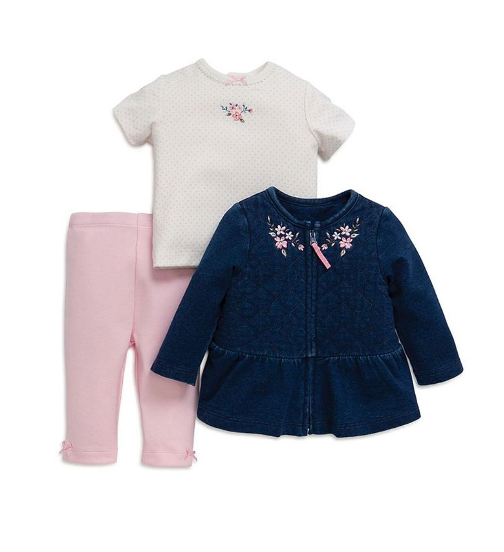 baby girl 3 piece embroidered set denim