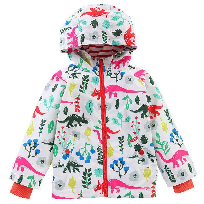 Kids Girls Hooded Waterproof Jacket Floral Raincoat Windbreaker