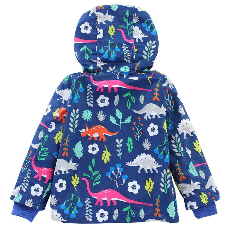 Kids Hooded Jacket Coat Floral Raincoat Windbreaker