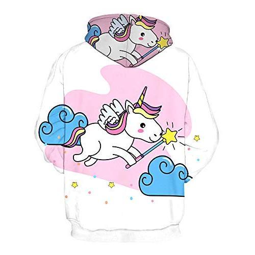 GLUDEAR Girls' Unicorn Teen Over Hoodie,Pink Cloud,XL