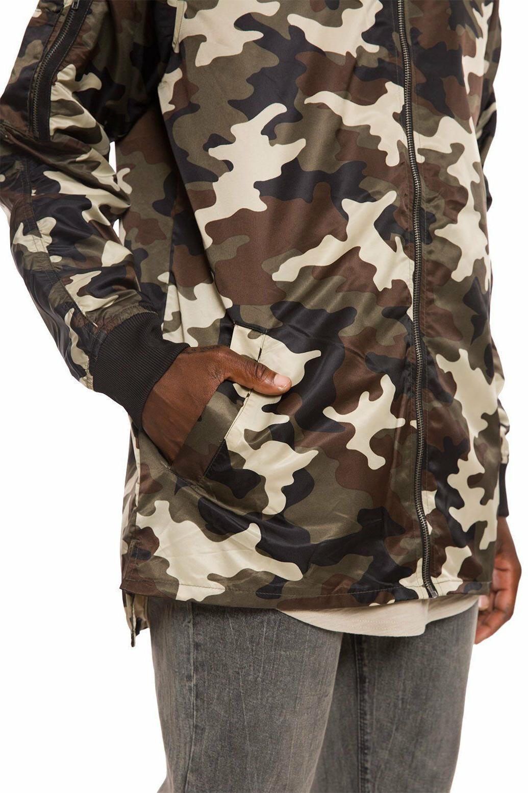 Elwood Camo Nylon Hem Bomber Jacket