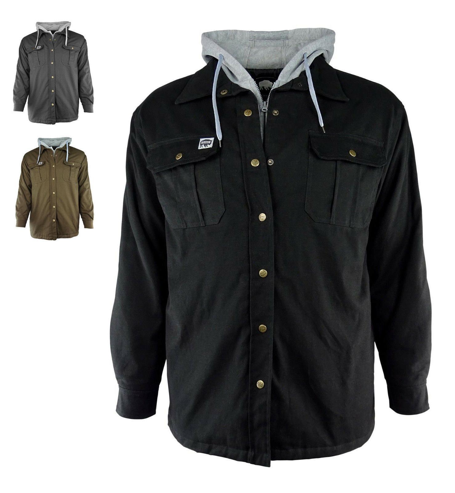 canvas hooded work jacket black brown or