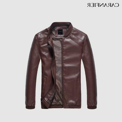 CARANFIER Men Spring Fall Coats Biker Punk