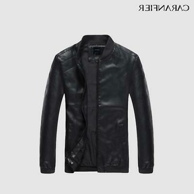 CARANFIER Leather Men Fall Thin Coats Punk Mot