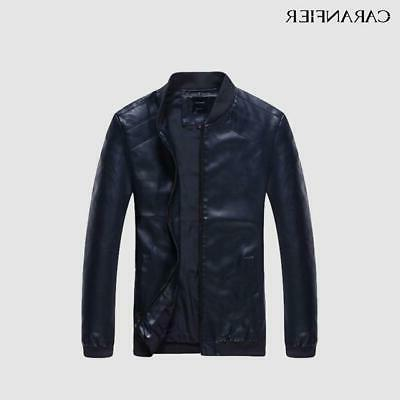 CARANFIER Mens Leather Men Faux Fall Thin Coats Punk Mot