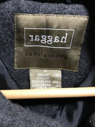 Haggar Charcoal Grey Zip Coat Wool Blend