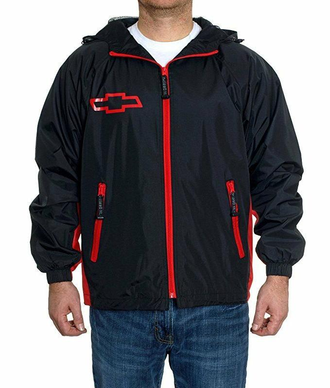 chevrolet racing hooded rain jacket windbreaker adult