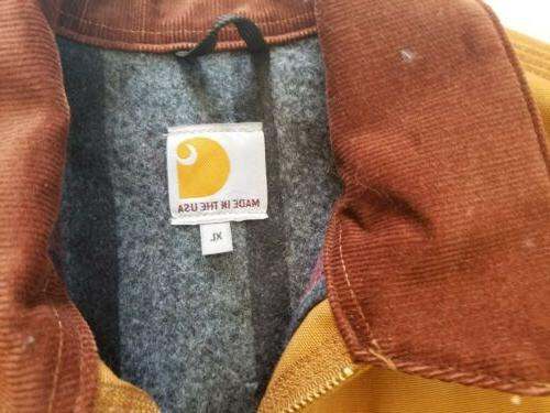 Carhartt J001 Detroit Brown Blanket Lined Jacket Sz in USA