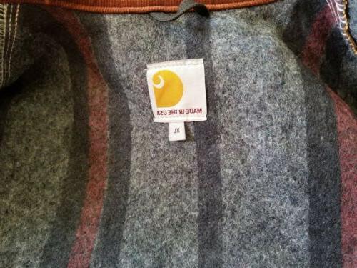 Carhartt Duck Detroit Brown Blanket Lined Jacket Sz in USA