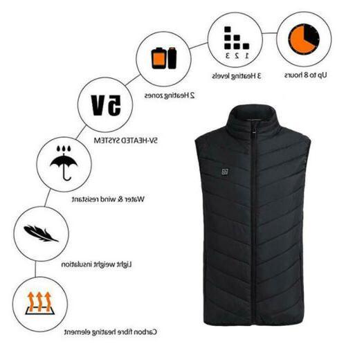 Electric Vest USB Thermal Heat Pad Body Unisex