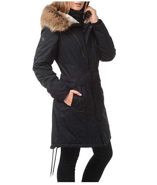 1 Expedition Faux Fur Hooded Jacket, Black, XL *New No