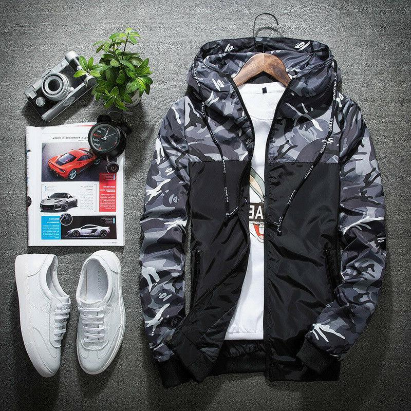 Fashion Men's Coat Thin Hooded Breaker