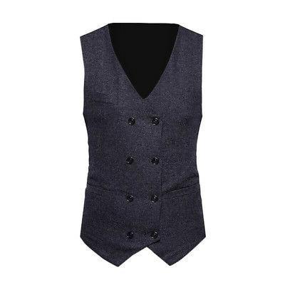 Fashion Mens Jacket Double-breasted Formal Waistcoat