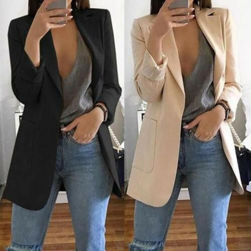 Fashion Women Long Sleeve Cardigan Casual Lapel Suit Jacket Coat