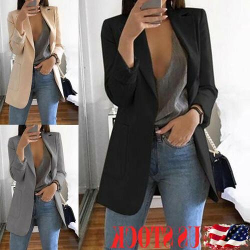 fashion women long sleeve cardigan casual lapel