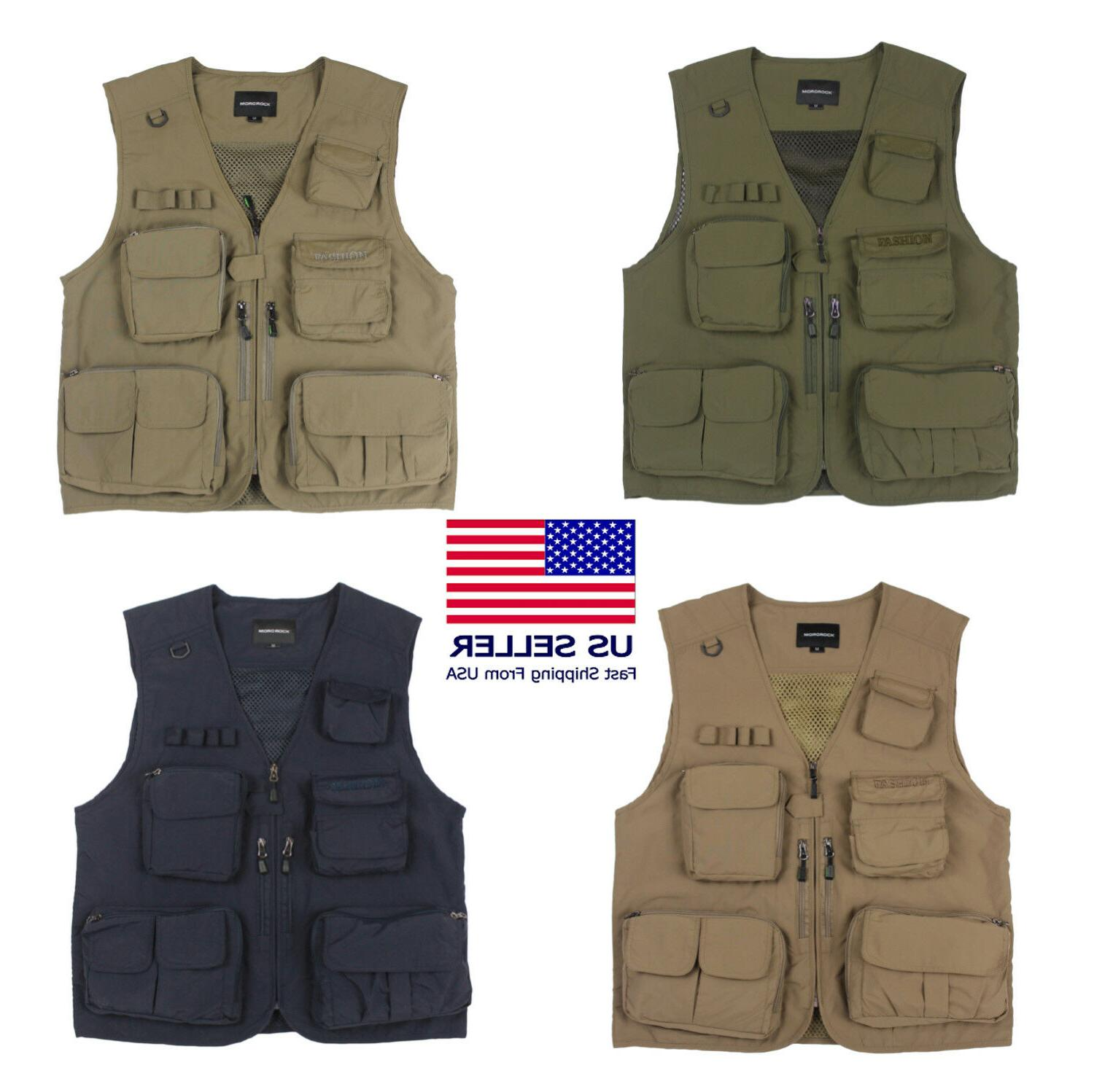fishing vest 14 pockets hunting photography quick