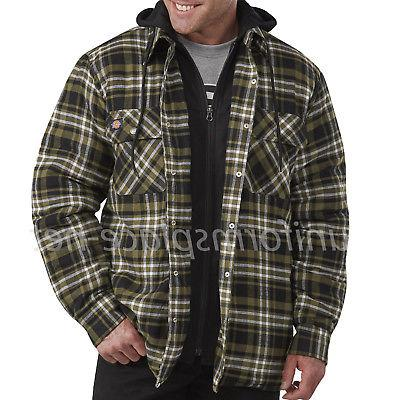 Dickies Flannel Jacket Relaxed Fit Hooded Quilted Shirt PLaid