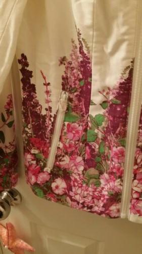 floral print motorcycle jacket w pockets pink