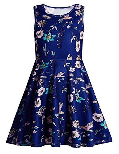 girls floral round neck sleeveless dress cute