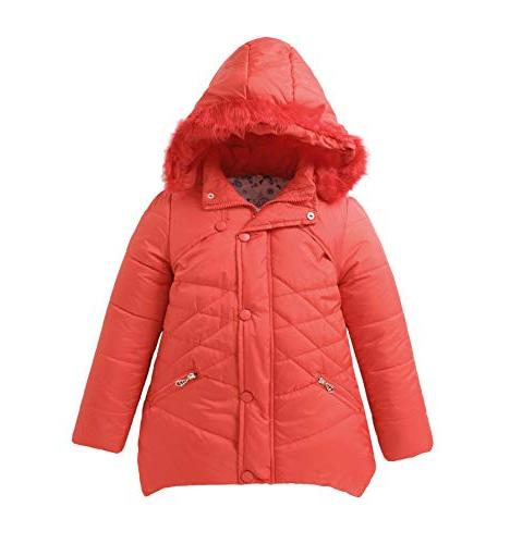 girls parka coat fur hooded overcoat winter