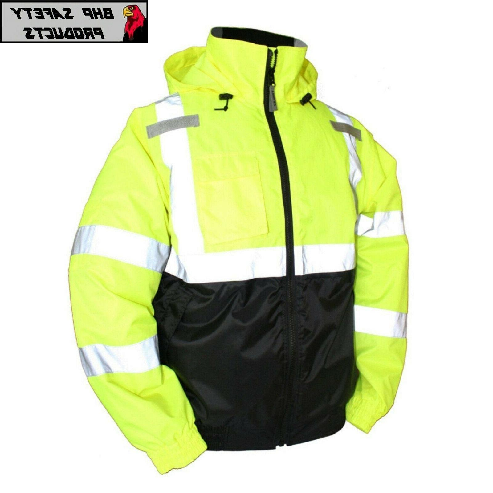 hi vis insulated safety bomber jacket orange