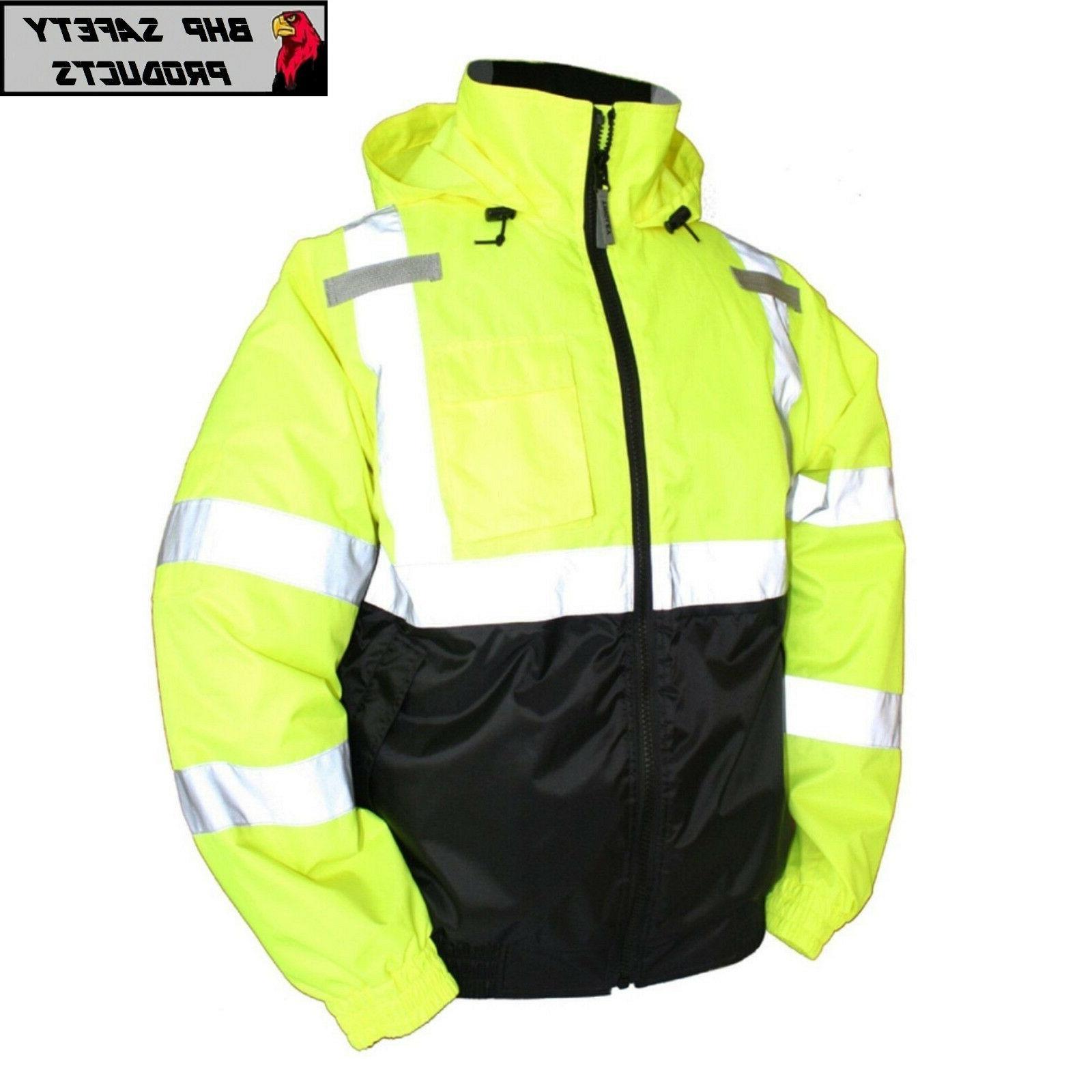 hi vis insulated safety bomber reflective jacket