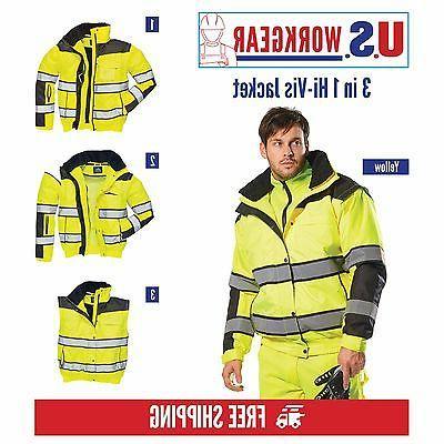 high visibility bomber rain jacket 3 jackets