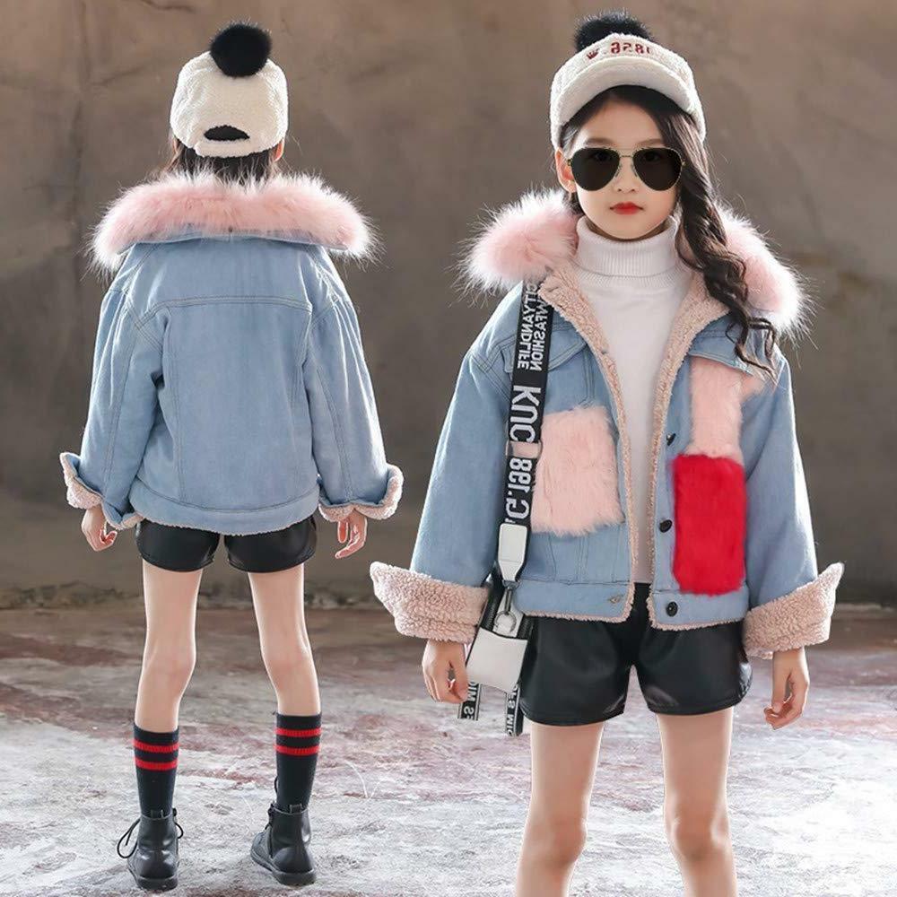 Kids Girls Winter Hooded Fur Thick Denim Coat Outwear