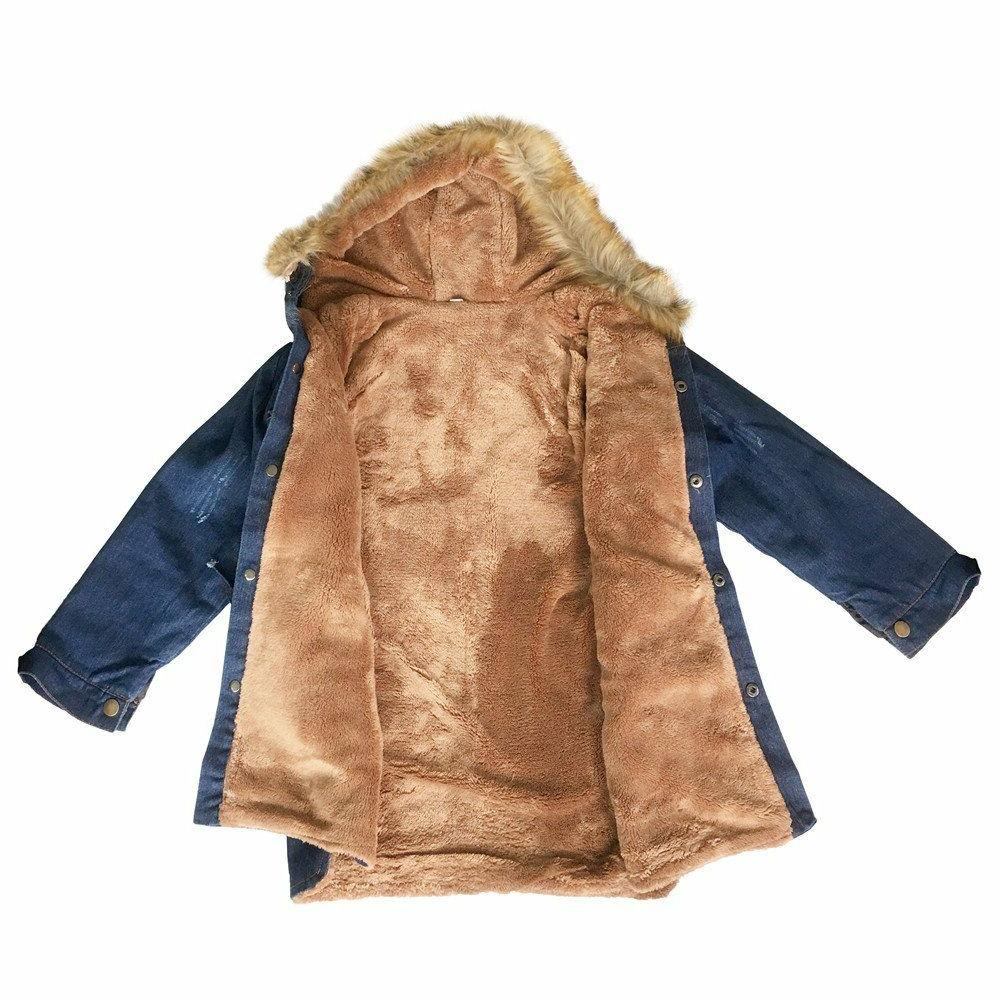 Kids Big Girls Winter Fur Collar Thick Denim Jacket Outwear