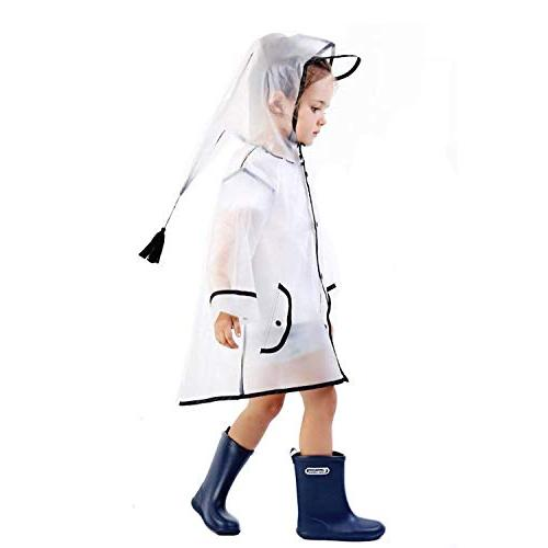YOUNGER Kids Durable Translucent Rain Portable Hooded 1-10T Baby Girls )