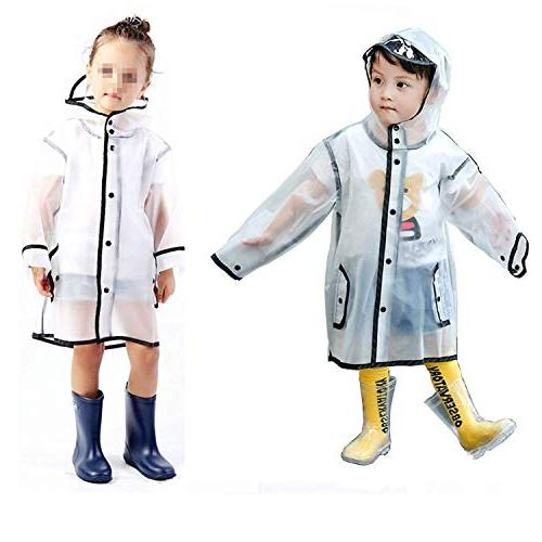 YOUNGER Kids Raincoat Durable Portable Hooded 1-10T Little Girls