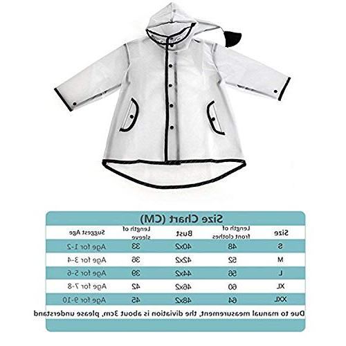 YOUNGER TREE Durable Translucent Rain Cape Portable Hooded 1-10T Little Girls )