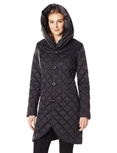 Lark Ro Quilted Shawl Jacket with Black, S