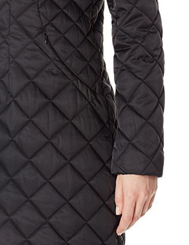 Lark & Ro Women's Quilted Shawl Jacket with Hood, Black, S
