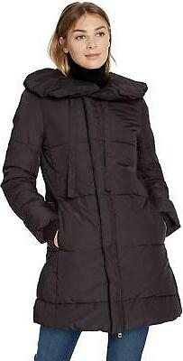 Lark & Ro Womens Long Black Shawl Pillow Collar Puffer Jacke