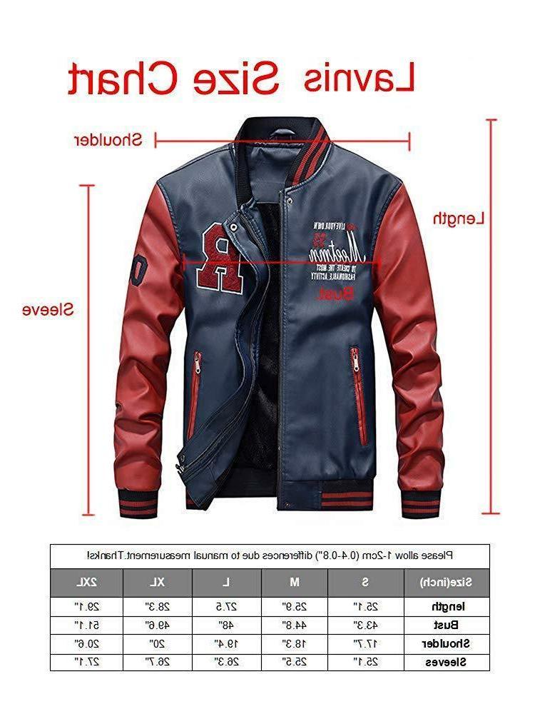 Lavnis Men's Leather Jacket Baseball Collar Slim