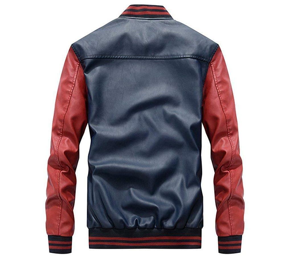 Lavnis Men's Faux Leather Collar Slim Coat