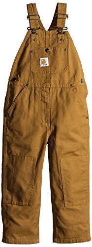 Carhartt Boys' Toddler Bib Overall, Brown, 3T