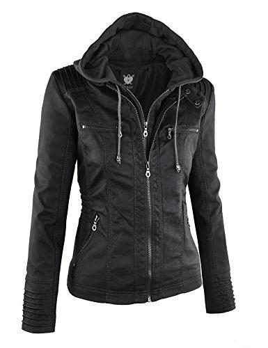 WJC663 Womens Removable Motorcyle Jacket L