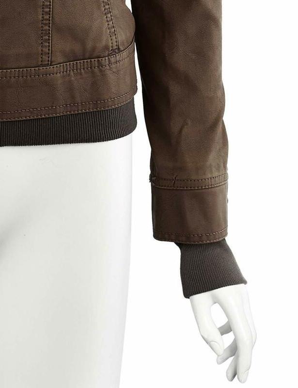Lock Love LL WJC664 Faux Jacket with Coffee