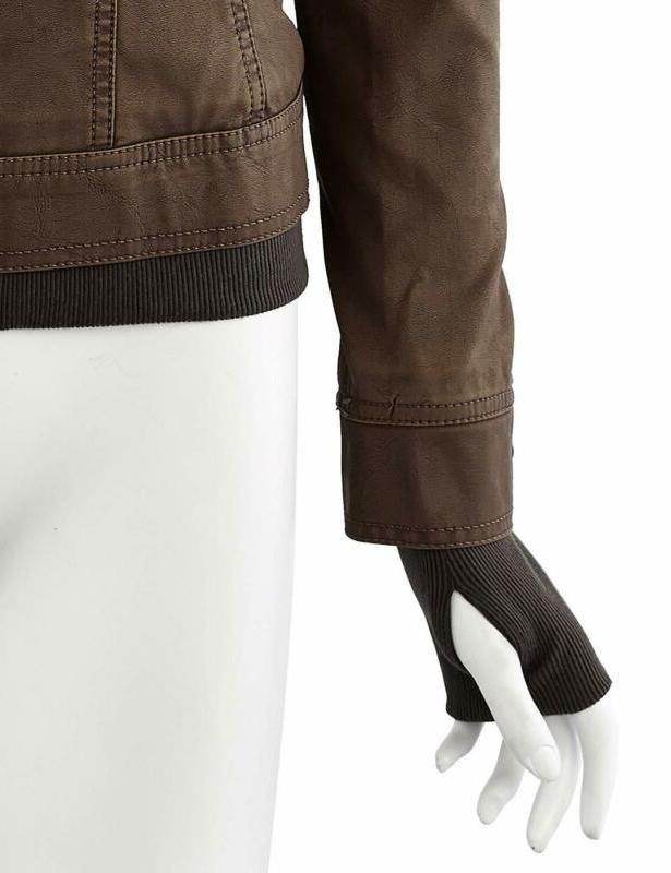 Lock and WJC664 Womens Faux Jacket Hoodie Coffee