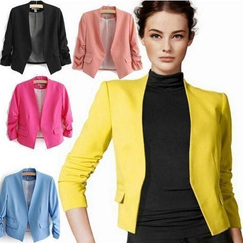 M-2XL Candy Color Womens Fashion Korea Solid Slim Casual Sui