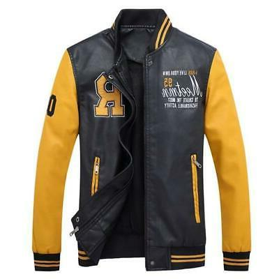 Men Baseball Jackets Coats Stand Leather Jackets Men's