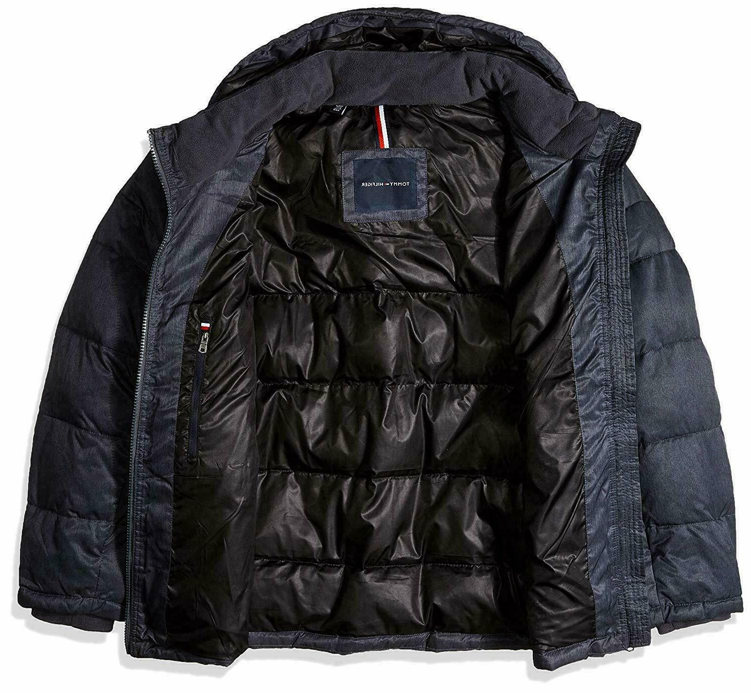 Tommy Hilfiger Men's and Tall Hooded Puffer Navy,