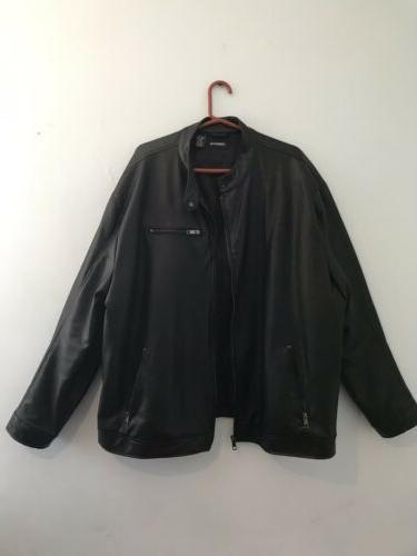 men s black faux leather coat jacket
