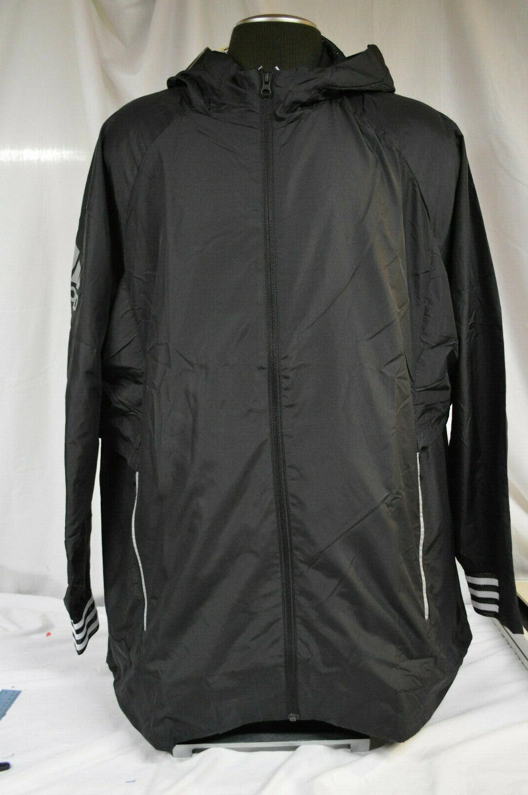 Adidas Black Hooded Windbreaker Reflective