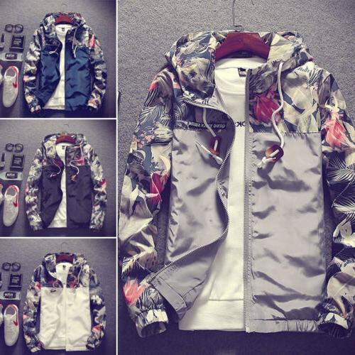 Men's Camo Hooded Casual Loose Coat Top