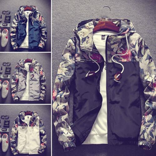 Men's Camo Hooded Jacket Sport Loose Coat Top Fashion