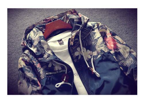 Men's Camo Windbreaker Hooded Casual Loose Coat Top