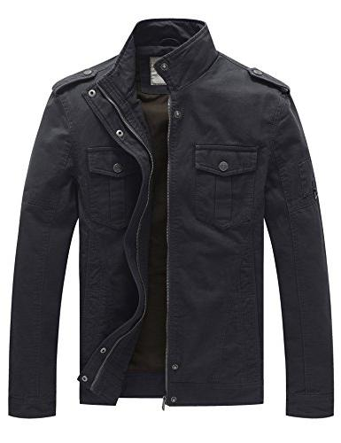 men s casual cotton military jacket grey
